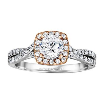 Round Cut Halo Diamond Infinity Engagement Ring