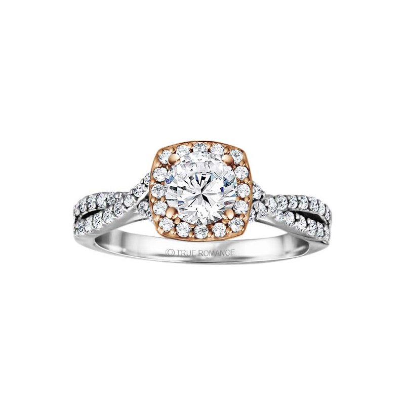 True Romance Round Cut Halo Diamond Infinity Engagement Ring
