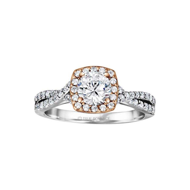 adff4d114 True Romance Round Cut Halo Diamond Infinity Engagement Ring. Stock #  RM1486RTT-H7