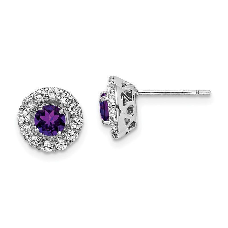 Quality Gold Sterling Silver Rhodium Plated White Topaz & Amethyst Earrings