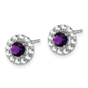 Sterling Silver Rhodium Plated White Topaz & Amethyst Earrings