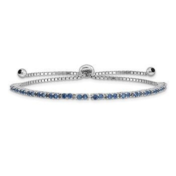 Sterling Silver Rhod-plated September Blue CZ Adjustable Bracelet