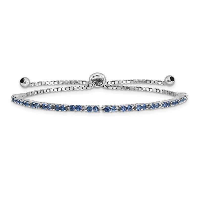 Quality Gold Sterling Silver Rhod-plated September Blue CZ Adjustable Bracelet