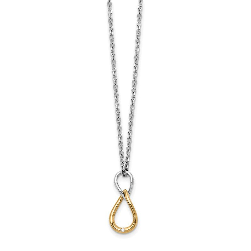 Quality Gold SS White Ice Gold-Tone 1/2pt Diamond Necklace