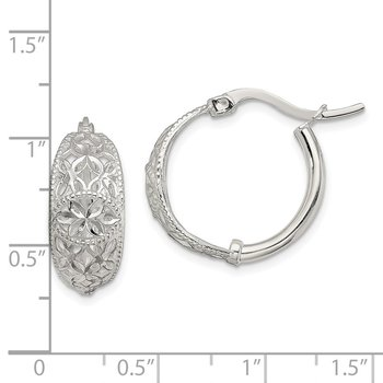 Sterling Silver Diamond Cut Open Flower Hoop Earrings