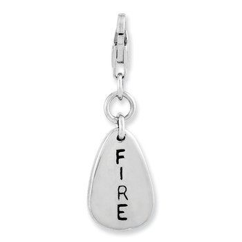 Sterling Silver Rhodium-plated Fire Symbol w/Lobster Clasp Charm