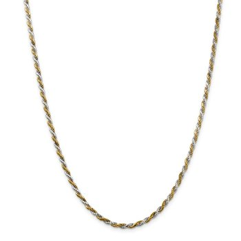 Sterling Silver And Vermeil 2.5mm Diamond-cut Rope Chain