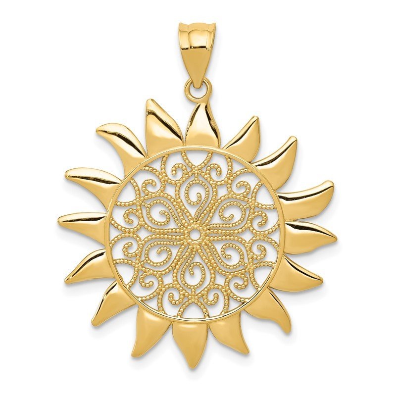 Quality Gold 14k Filigree Sun Pendant