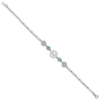 Sterling Silver RH-plated Crystal Snowflake w/1in ext Bracelet