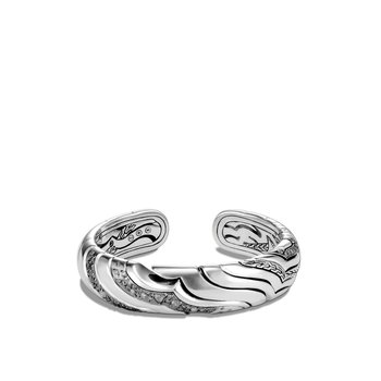 Lahar 15MM Kick Cuff in Silver with Diamonds
