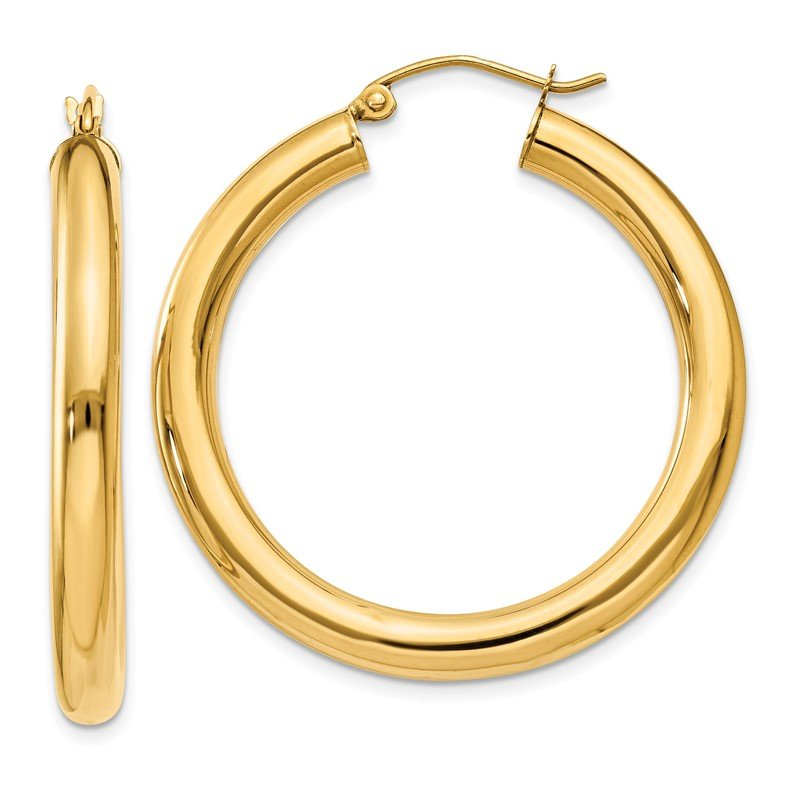 Quality Gold 14k Polished 4mm Lightweight Tube Hoop Earrings