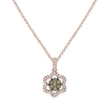 Champagne And White Diamond Flower Necklace in 14k Rose Gold with 36 Diamonds weighing .32ct tw