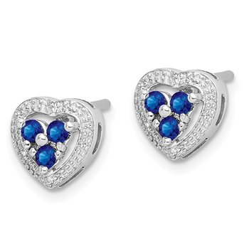 Sterling Silver Rhodium Plated Diamond & Sapphire Heart Earrings