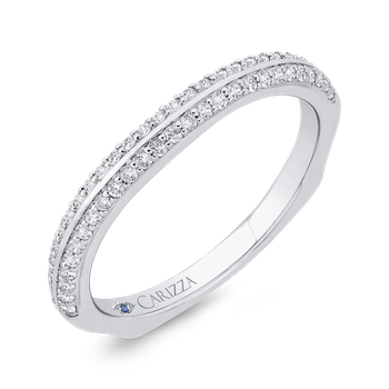 18K White Gold Double Row Diamond Wedding Band with Euro Shank