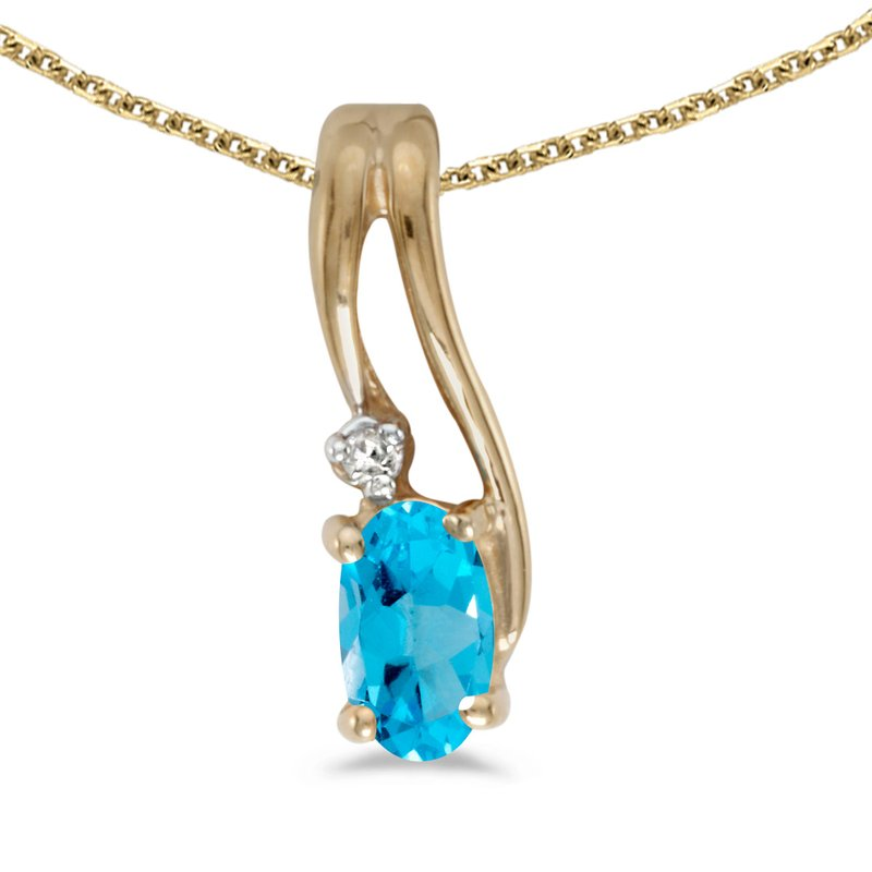 Color Merchants 10k Yellow Gold Oval Blue Topaz And Diamond Wave Pendant