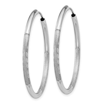 14k White Gold 2mm Diamond-cut Endless Hoop Earrings