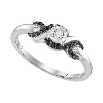 Sterling Silver Womens Round Diamond Solitaire Bridal Wedding Engagement Ring 1/6 Cttw