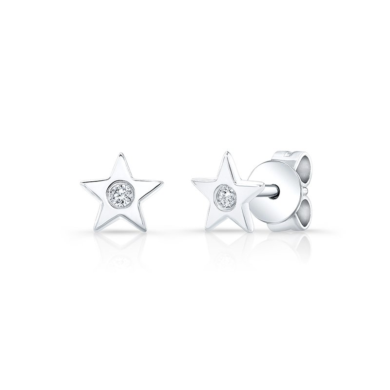 Robert Palma Designs White Gold Petite Star Studs