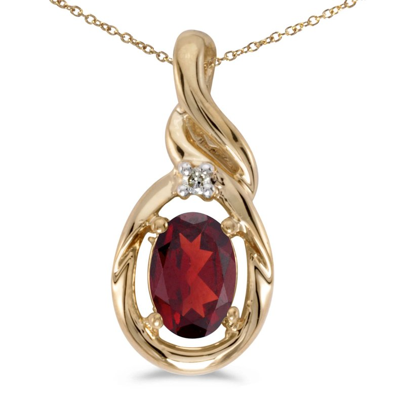 Color Merchants 10k Yellow Gold Oval Garnet And Diamond Pendant