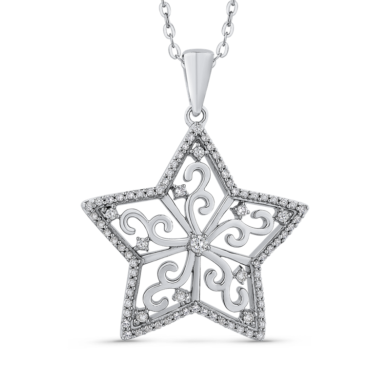 Essentials 10K White Gold 1/2 Ct Diamond Star pendant with Chain