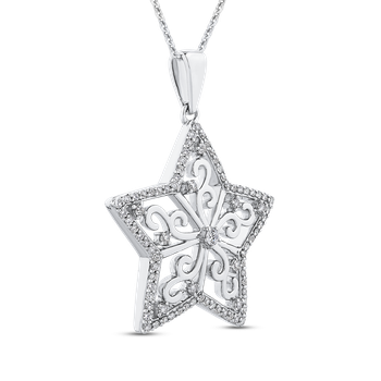 10K White Gold 1/2 Ct Diamond Star pendant with Chain