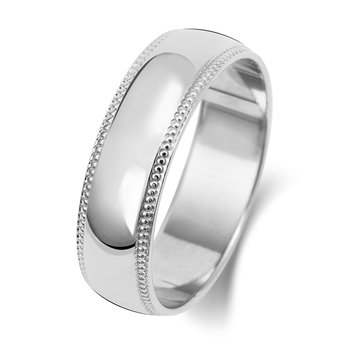 9Ct White Gold 6mm D Shape Millgrain Wedding Ring