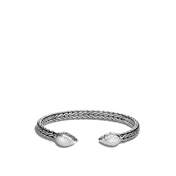 Classic Chain 5.5MM Flex Cuff in Hammered Silver