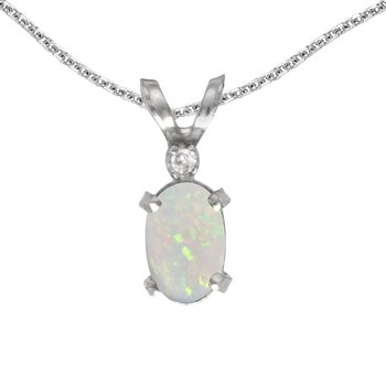 14k White Gold Oval Opal And Diamond Filagree Pendant