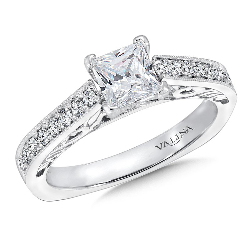 Valina Bridals Mounting with side stones .23 ct. tw., 3/4 ct. Princess cut center.
