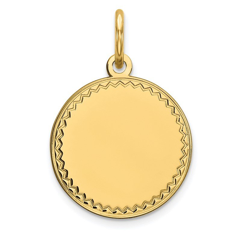 Quality Gold 14k Plain .009 Gauge Engravable Round Disc Charm
