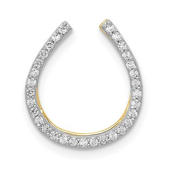 14k White Gold 1/6ct. Diamond Horseshoe Chain Slide