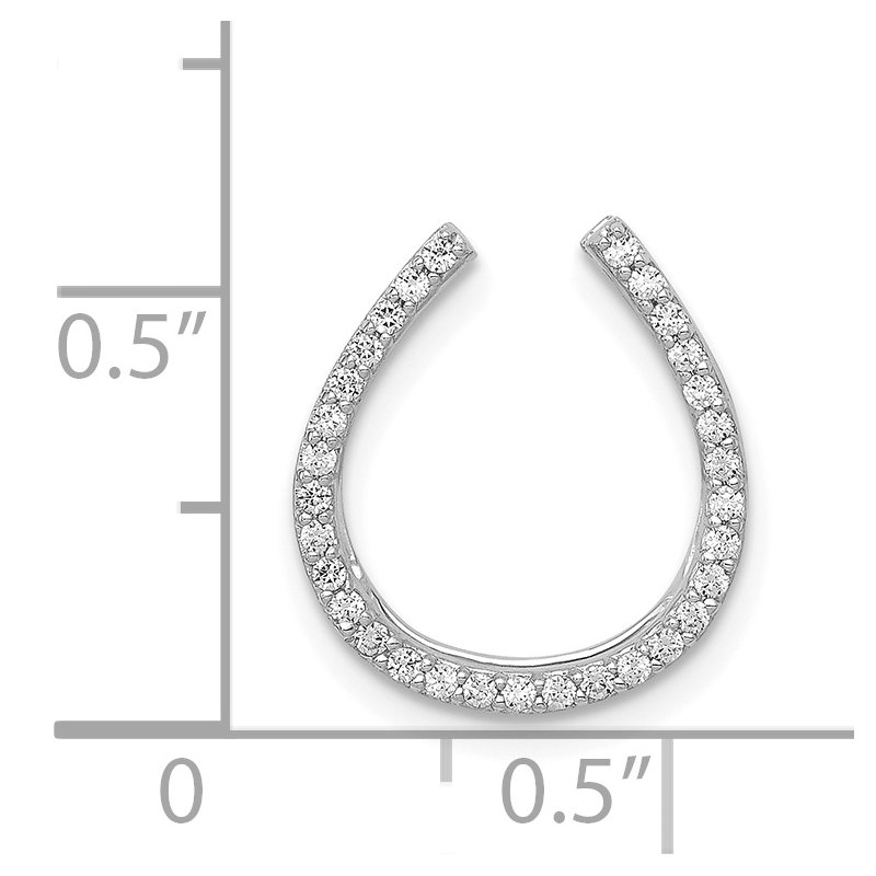 Quality Gold 14k White Gold 1/6ct. Diamond Horseshoe Chain Slide