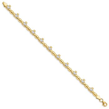 14K w/ Rhodium D/C Claddagh Polished Link Bracelet