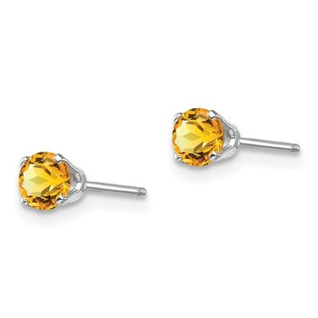 14k White Gold 4mm Citrine Stud Earrings