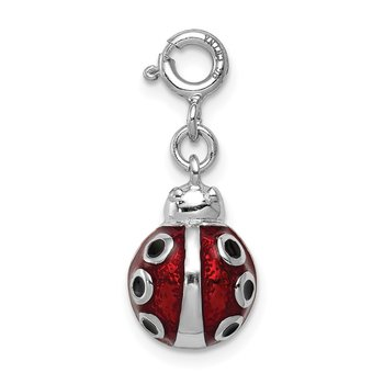 Sterling Silver Red Enameled Lady bug Charm