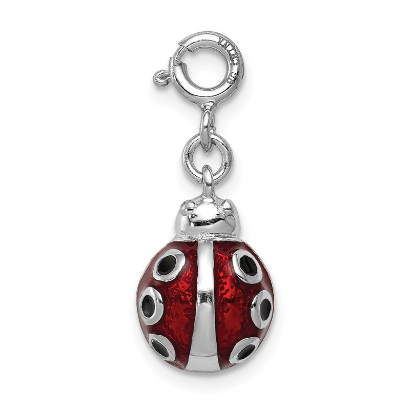 Quality Gold Sterling Silver Red Enameled Lady bug Charm