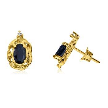 14k Yellow Gold Sapphire Scroll Diamond Earrings