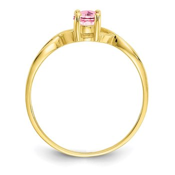 10k Polished Geniune Pink Tourmaline Birthstone Ring