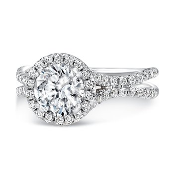 Uneek Round Diamond Halo Engagement Ring with Pave Double Shank, in 14K White Gold