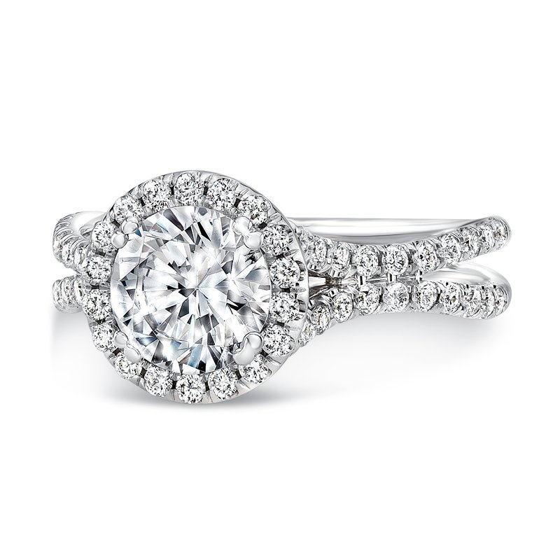 Uneek Fine Jewelry Uneek Round Diamond Halo Engagement Ring with Pave Double Shank, in 14K White Gold