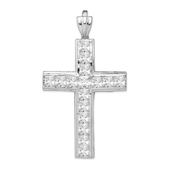 Sterling Silver Rhodium-plated CZ Cross Pendant