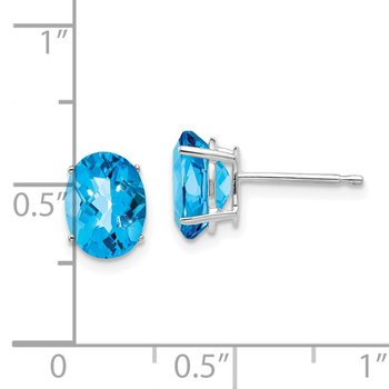 14k White Gold 8x6mm Oval Blue Topaz Checker Earrings