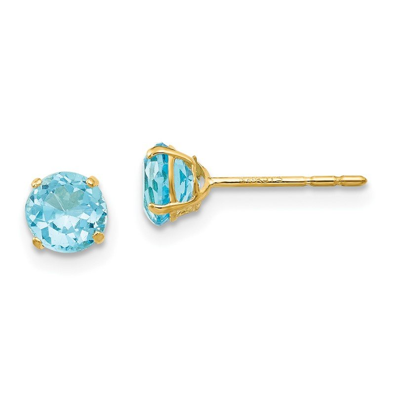 Quality Gold 14k Madi K Round Blue Topaz 5mm Post Earrings