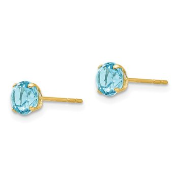 14k Madi K Round Blue Topaz 5mm Post Earrings
