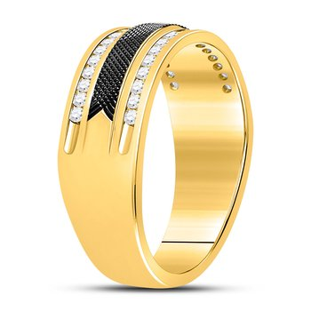 14kt Yellow Gold Mens Round Diamond Double Row Black Textured Wedding Band Ring 1/4 Cttw