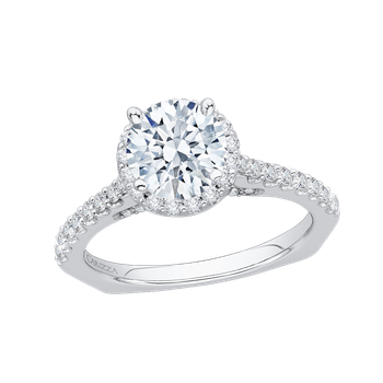 18K White Gold Round Cut Diamond Halo Engagement Ring with Euro Shank (Semi-Mount)