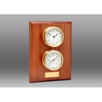 Voyager Clock and Barometer Set on Mahogany Plaque