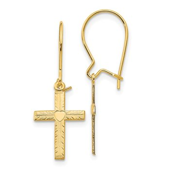 14k Polished & Satin Cross Earrings