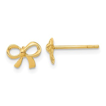 14k Gold Polished Bow Post Earrings