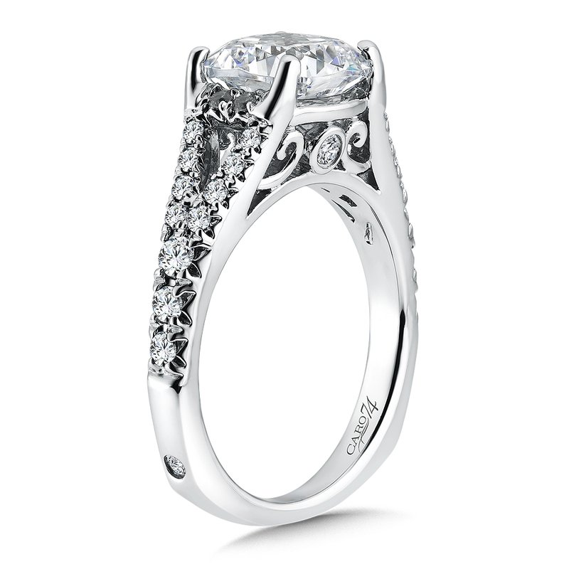 Caro74 Grand Opulance Collection Cushion Shape Center Split Shank Engagement Ring with in 14K White Gold (3 ct. tw.)